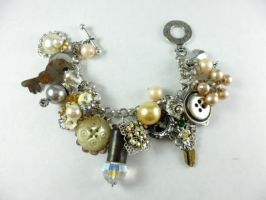 Silver Plated Vintage Mixed Media Bracelet by DryGulchJewelry
