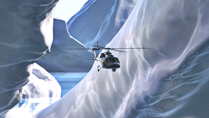 helicopter amidst icebergs by janvanepen