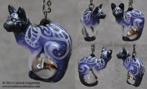 Frosted Sky Feline Pendant by soulofwinter