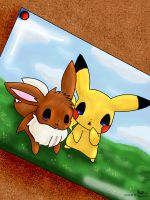 Coloured Eevee and Pikachu by MREcartoonist