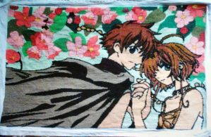 CrossStitch-Sakura and Syaoran by EeveeChan