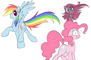 Pinkie, Pinkamena and Dashie Sketches by Petalierre