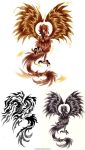 Phoenix tattoo designs by Hanoko