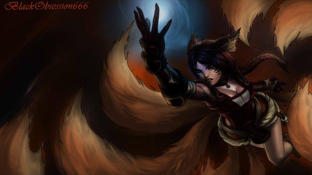 Ahri:FoxFire Skin (League of Legends) by BlackObsession666