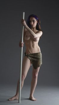 Jungle Huntress standing spear by mjranum-stock