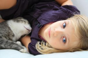 Girl with cat by MarinaVroda