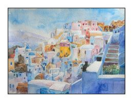Santorini:Landscape with a Cat by shadow-of-kyle