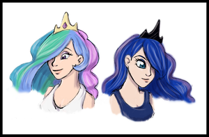 Humanized Celestia and Luna by FEuJenny07