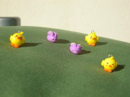 Fimo chicks and bunnies by REDDISH-MUSE