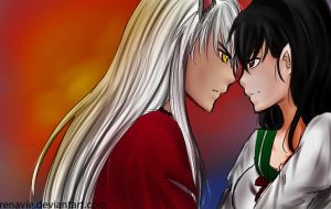 Inuyasha and Kagome by Renavie