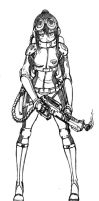 Flame Thrower Girl sketch by jehanaruto