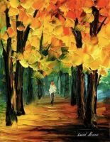 Fall forest oil painting on canvas by L.Afremov by Leonidafremov