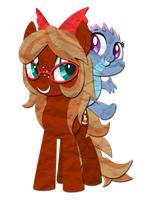 Paper Pony: Cinnamon Swirl and Jewel by IEatedAUnicorn