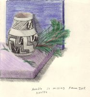 Small B and W Anatze Jar by CherokeeGal1975