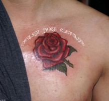 Rose on Chest by Chelsea Cleveland by SmilinPirateTattoo