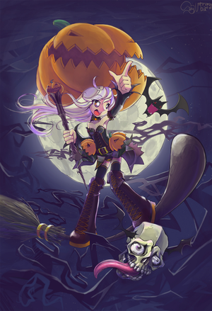 Pumpkin witch by Krokobyaka