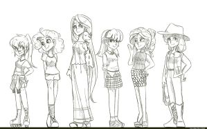 Mane Six sketch by Looji
