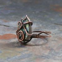 Teardrop Abalone Shell Ring-  Wire Wrapped Ring by Shanti-Lewis