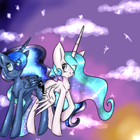 Luna and Celestia by MissMagicalWolf
