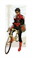 Spiderman On a Bike Texting by Sethard