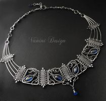 The Crown - Fine silver and kyanite necklace by VaniniDesign