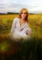 Emma Watson in the meadow by amidsummernights
