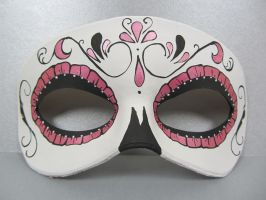 Day of the Dead pink metallic leather mask by maskedzone
