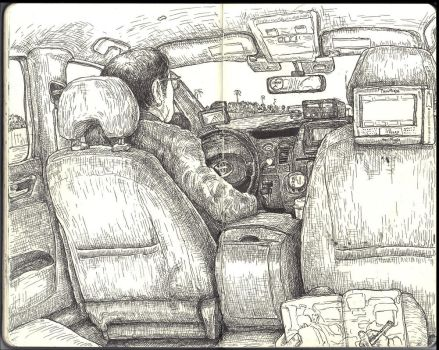 Sketchbook - hideously expensive taxi to LAX by keiross