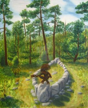 Forest spirit on stone ship by Tindome-Art