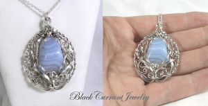 Blue Lace Agate and Sterling Silver by blackcurrantjewelry