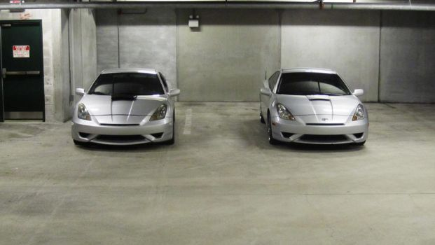 Dual Silver Toyota Celicas by Xymbiant