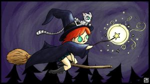 Little witch in the night by gvsmadcat
