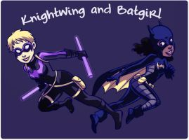 Knightwing and Batgirl by gabzillaz