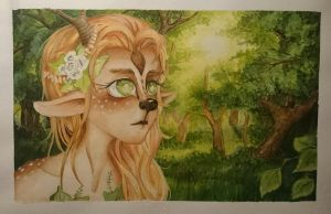 little Faun-girl  by ule-sketching
