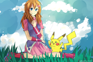 [ Commish ] Maria and Pikachu by T3RII