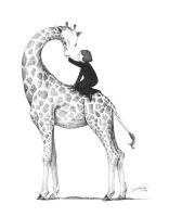 Giraffe drawing by spowys