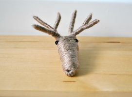 String Reindeer Stag Brooch Pin by windowfog