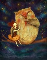 Star Owl Played her a lullaby! by meluseena
