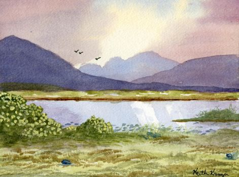 Watercolor Lake by ThatDarkholderGuy