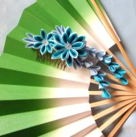 Shades of blue dahlia kanzashi by elblack