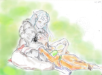 Sesshomaru and Rin coloured by AfricanAmericanAnime