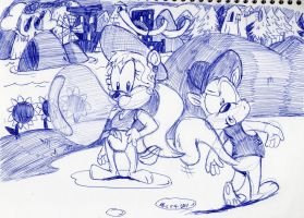 Dixie Chipmunk and Diddy Squirrel by spongefox