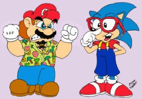 Captain Mario and SonUrkel C by Beau-Skunk