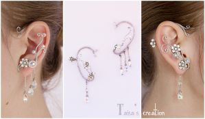 Ear Cuffs ''Icy Blossom'' by Taisa-Winged