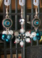 Teal Earrings with Snowflake Earring by DOC-Ash1391