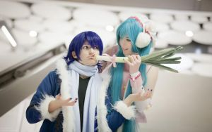 Mikus leek loves Kaitos face by Kisaragikun