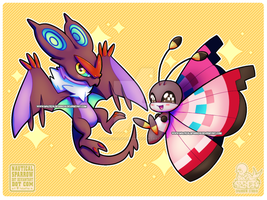 noivern and vivillon chibis [finished] by NauticalSparrow