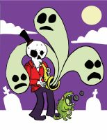Sax Playing Skull by madtiki