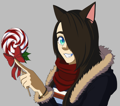 Cool Cat with Lollipop (redraw) by SeikoloveyCakes