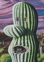 Cactus with owl by Hop41